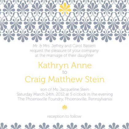 Wedding Invitation - yellow & gray flourish