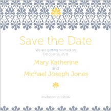 Save the Date Card - yellow & gray flourish