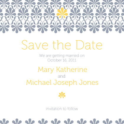 Save the Date Card - yellow & gray flourish