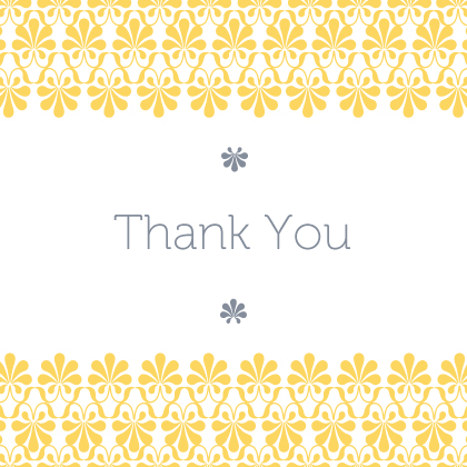 Wedding Thank You Card - yellow & gray flourish