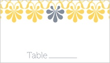 Place Card - yellow & gray flourish