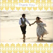 Wedding Thank You Card with photo - yellow & gray flourish
