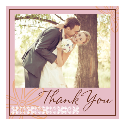 Wedding Thank You Card with photo - Fields