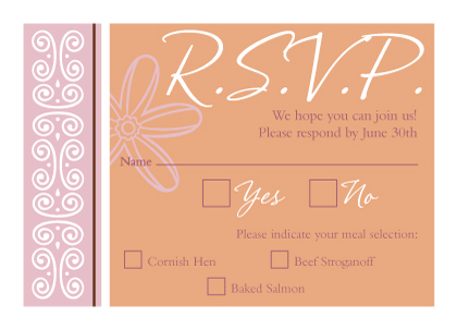 Response Card with menu options - Fields