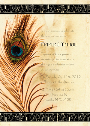 Wedding Invitation - Peacock Bliss