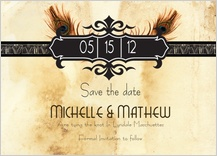 Save the Date Card - peacock bliss