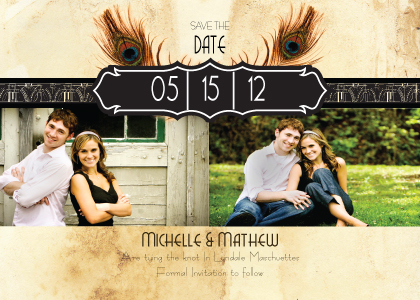 Save the Date Card with photo - Peacock Bliss