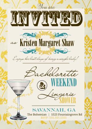 Bachelorette Party Invitation - Vintage Pattern Bachelorette Party