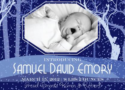 Birth Announcement - Birth Announcement - Snow on Cedars