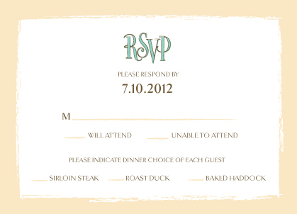 Response Card with menu options - Sandals