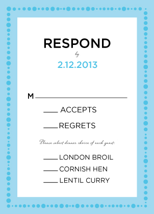 Response Card with menu options - Simply Cirque