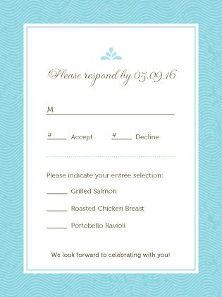 Response Card with menu options - La Isla Bonita