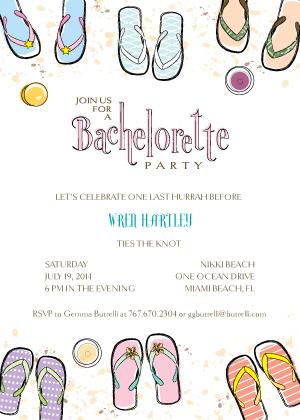 Bachelorette Party Invitation - Beachy Bachelorette