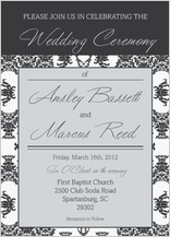 Wedding Invitation - damask pattern wedding