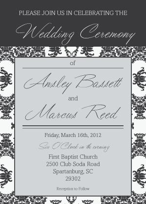 Wedding Invitation - Damask Pattern Wedding