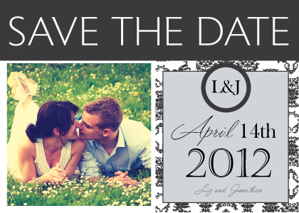 Save the Date Card with photo - Damask Pattern Wedding
