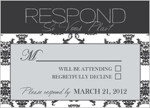 Response Card - damask pattern wedding