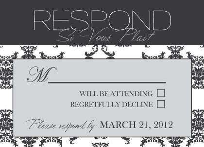 Response Card - Damask Pattern Wedding