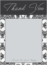 Wedding Thank You Card - damask pattern wedding