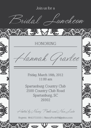 Wedding Shower Invitation - Damask Pattern Wedding