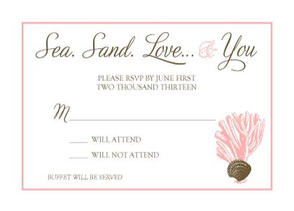 Response Card - Sea. Sand. Love