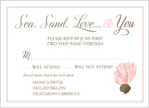 Response Card with menu options - sea. sand. love