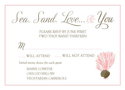 Response Card with menu options - Sea. Sand. Love