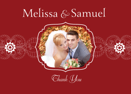 Wedding Thank You Card with photo - Moroccan Style