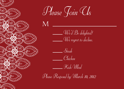 Response Card with menu options - Moroccan Style