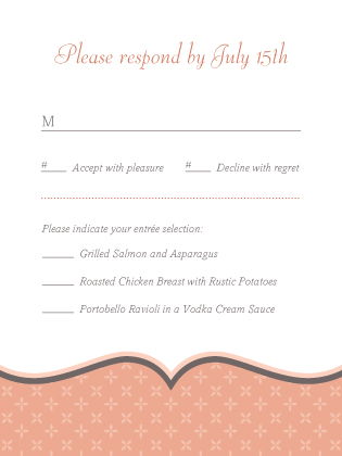 Response Card with menu options - Tres Chic