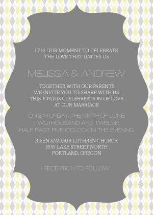 Wedding Invitation - Classic Argyle