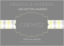 Save the Date Card - classic argyle