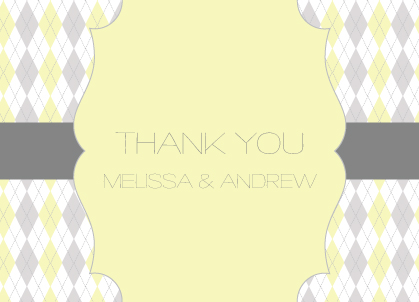 Wedding Thank You Card - Classic Argyle