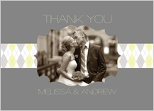Wedding Thank You Card with photo - classic argyle