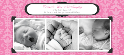 Birth Announcement with photo - Traditional Baby Damask