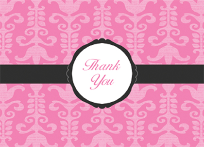 Baby Thank You Card - Traditional Baby Damask