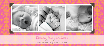 Birth Announcement with photo - Funky Baby Damask