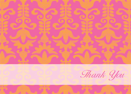 Baby Thank You Card - Funky Baby Damask