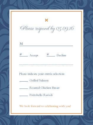 Response Card with menu options - Eleganza