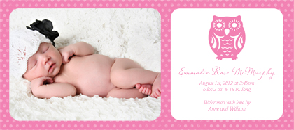 Birth Announcement with photo - Owl Baby