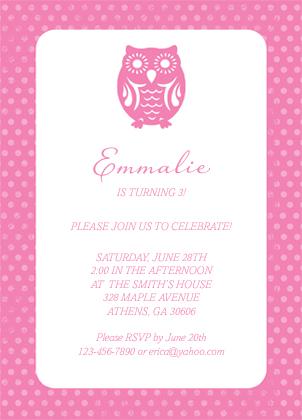 Birthday Party Invitation - Owl Birthday
