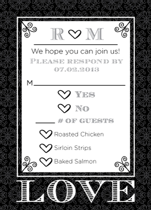 Response Card with menu options - Love