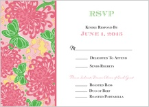 Response Card with menu options - floral splash