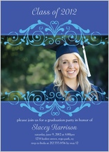 Graduation Party Invitation - blue scroll