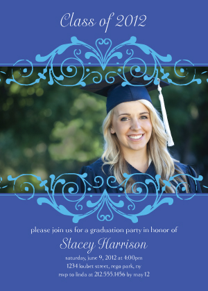 Graduation Party Invitation - Blue Scroll