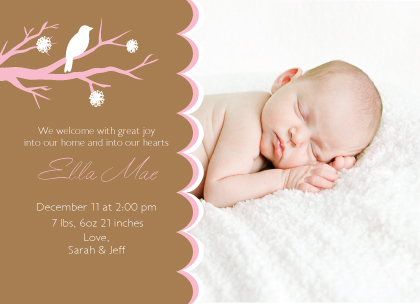 Birth Announcement with photo - Spring Time Baby Girl