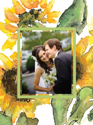 Wedding Thank You Card with photo - Sunflower Time