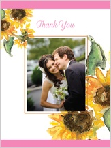 Wedding Thank You Card with photo - sunflower too!