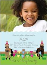 Birthday Party Invitation with photo - pony party