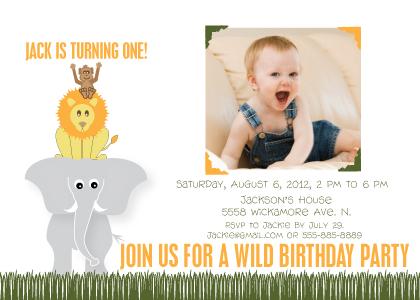 Birthday Party Invitation with photo - Wild Safari Party